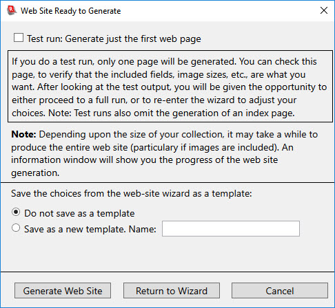 Generating a Collection Web Site